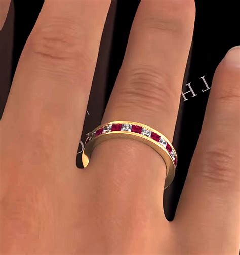 Ruby 18 25ct eternity ring diamonds h si and ruby 2 25ct in 18k