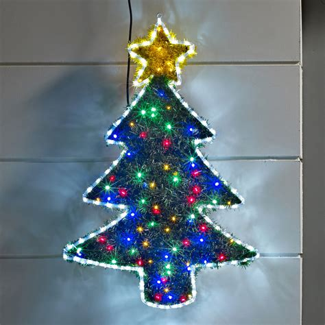tinsel christmas tree led rope light silhouette