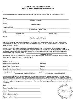 authorization letter minor travel without parents form parental consent fill printable fillable