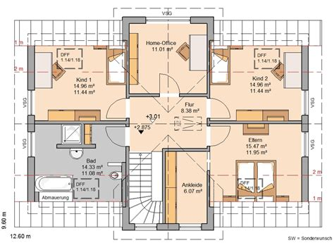 Kinderzimmer Grundriss Beispiele by Kern Haus Familienhaus Aura Grundriss Dachgeschoss