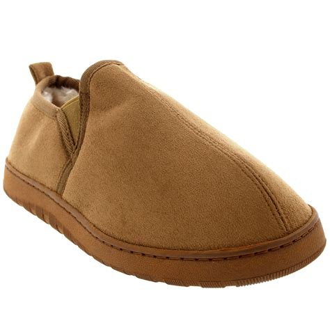 mens fur lined moccasin slippers mens loafer slip on warm cosy winter moccasin fur lined