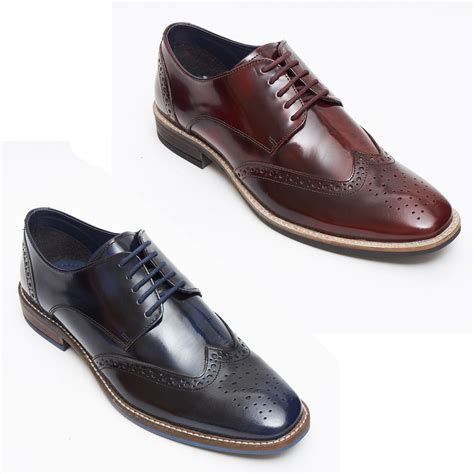 new mens italian burgundy laced leather shiny patent