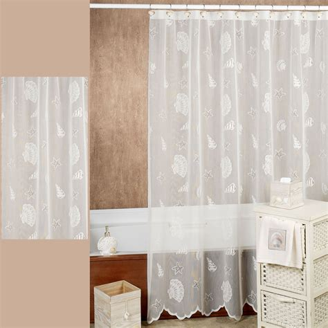 seashell curtain seashells lace shower curtain