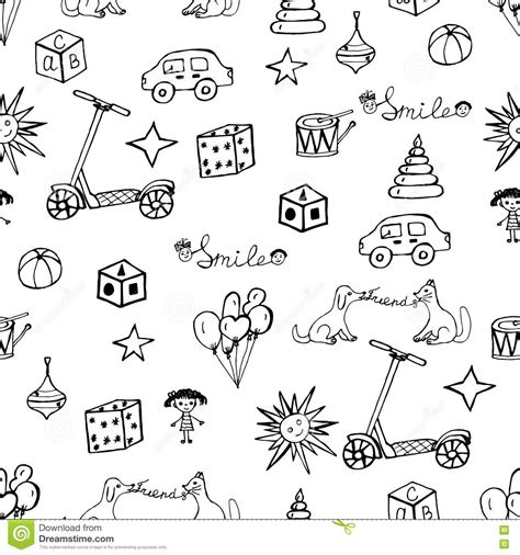 pattern drawing toy vector child hand drawn pattern stock vector