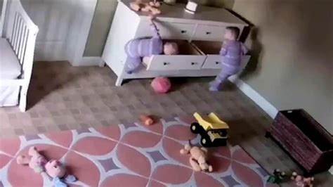 toddler fell bed caught on camera dresser falls on twin boys one toddler
