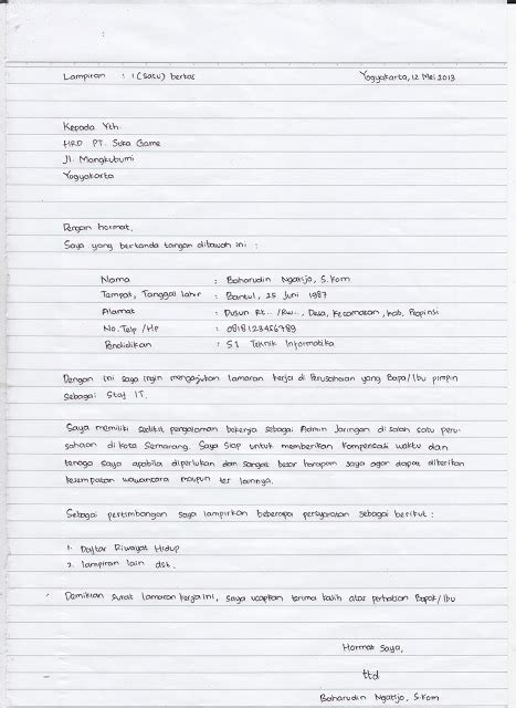 Lamaran Kemendikbud Tulis Tangan Kertas by Situsmedia Contoh Surat Lamaran Kerja Tulis Tangan Yang