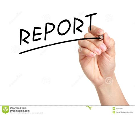 Handing Report Writing by Report Stock Photo Image 39485335