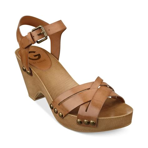clogs sandals for g by guess womens jackal platform clog sandals in brown