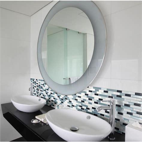 Smart Tiles Muretto Brina 10 20 In W X 9 10 In H Peel Stick On Mirror Tiles Bathroom