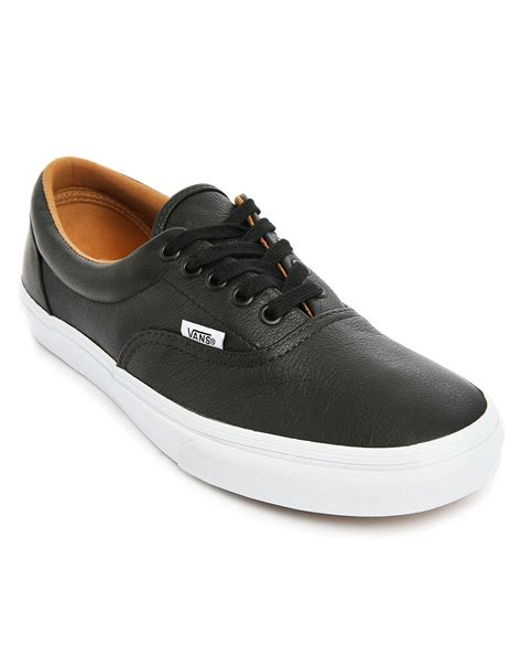 mens black sneakers vans era black leather sneakers in black for lyst