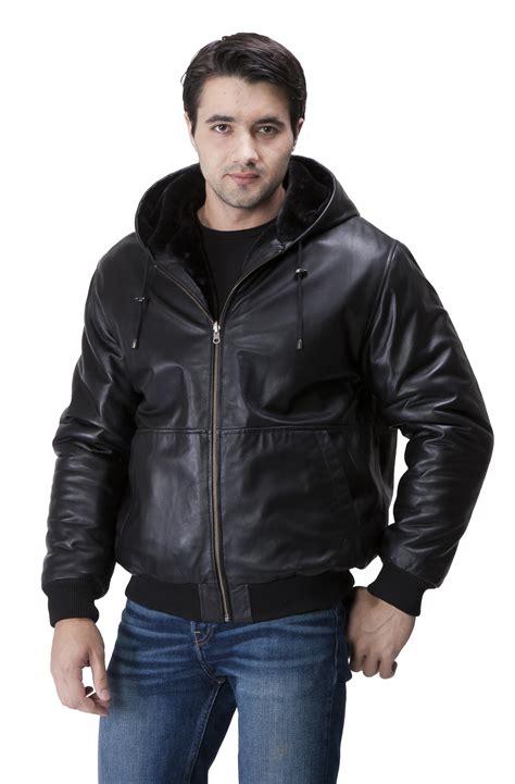 bomber jacket leather mens hooded leather bomber jacket coat nj