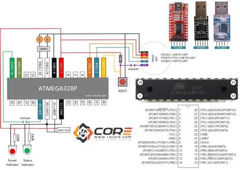 wiring  stand  atmegap cmos bit microcontroller