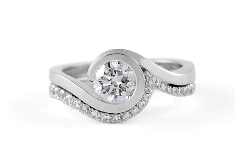 Platinum Engagement Rings by Wave Platinum Engagement Ring With Brilliant White