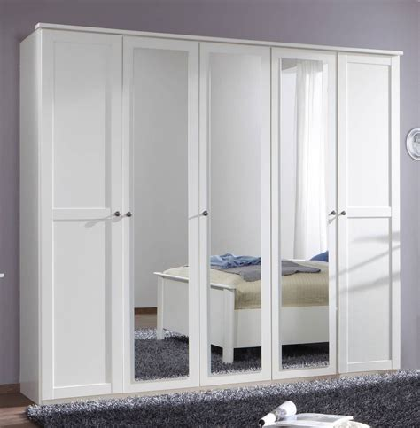 Wardrobe Doors Mirror by German Chalet Shaker Style White Large 5 Door Mirror Wardrobe 225cm Ebay