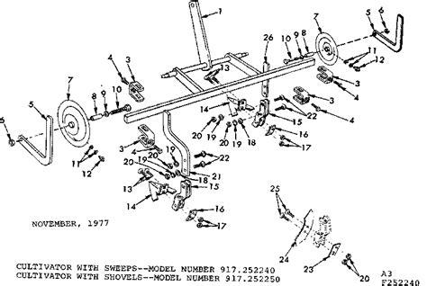 craftsman tiller parts diagram craftsman sears 5 shank cultivator parts model 917252240