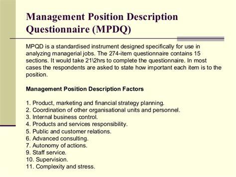 position description questionnaire template j ob analysis