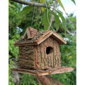 fairtrade solid wooden rustic hanging bird house square