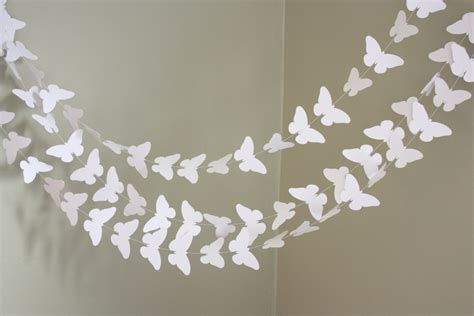 Paper Garland - white butterfly paper garland 10 ft wedding decoration