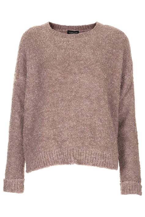 Sweater Topshop Topshop Boucle Sweater In Brown Dusty Pink Lyst