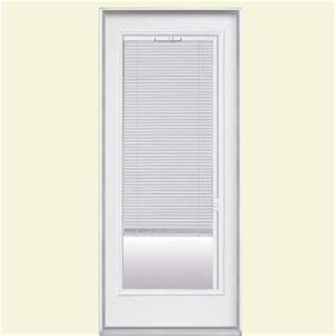 Blinds For Front Doors With Glass Masonite 32 In X 80 In Premium Lite Mini Blind Primed Steel Prehung Front Door With