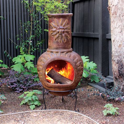 chiminea bunnings glow 440 x 440 x 1045mm sun clay chiminea bunnings