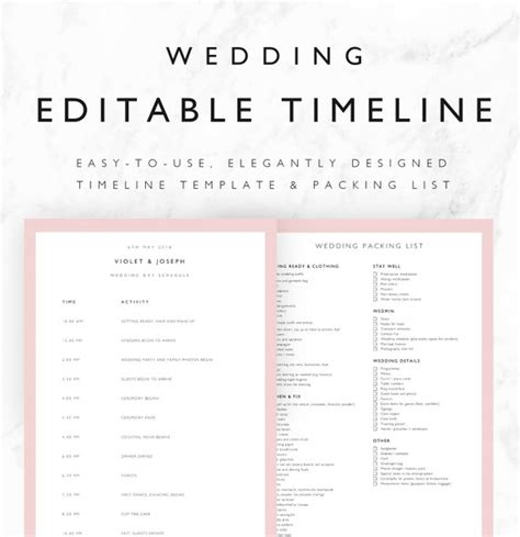 Violet Wedding Timeline Template Minimal Bridal Wedding Day Wedding Day Timeline Template
