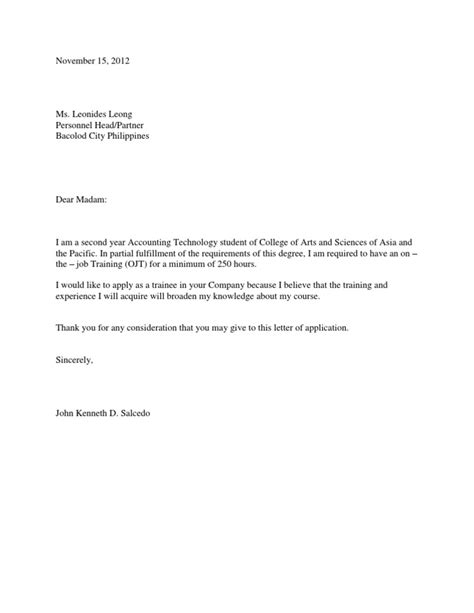 application letter for ojt engineering sle application letter for internship