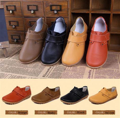 Sepatu Boot Warna Kuning sepatu kulit wanita warna flat slip pada loafers kuning