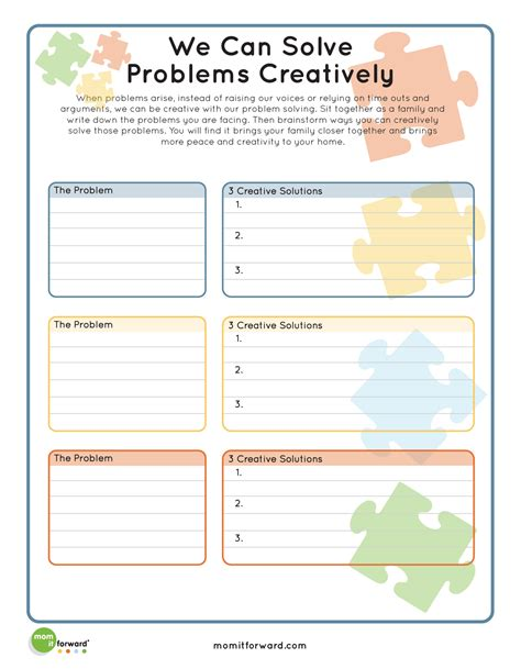 Printable Problem Solving Worksheets by Printable Creative Problem Solving It Forwardmom It