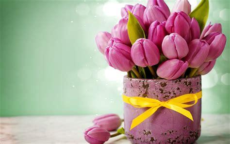 vasi per tulipani scarica sfondi tulipani rosa vasi bouquet rosa fiori