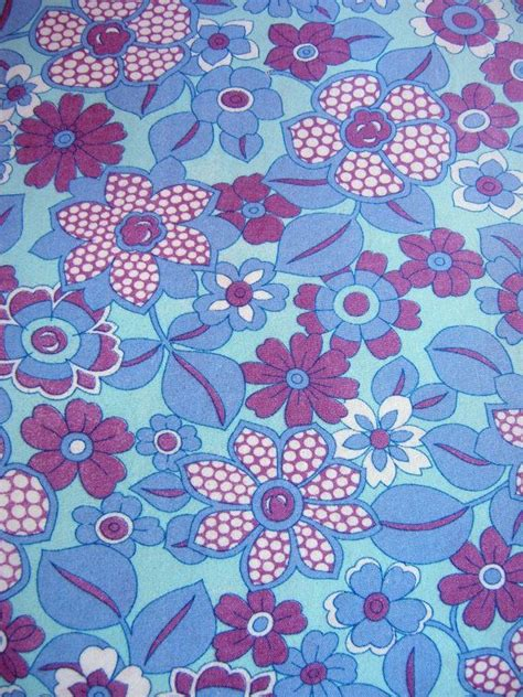 70s Fabric by Vintage 1960s 70s Cotton Fabric Retro Flower Power Fabric