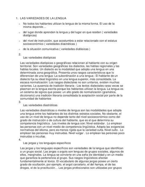 Resume Now Ax Las Variedades De La Lengua Resumen