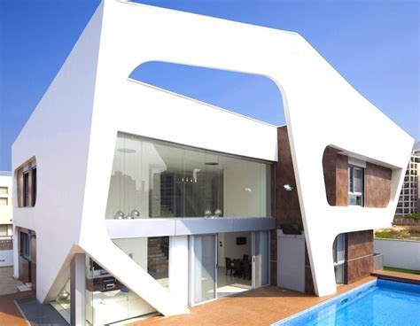 Futuristic Homes Interior Bone White Geometric Facade Wraps Around Contemporary