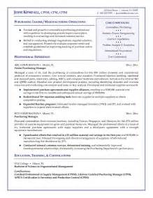 Resume Purchasing by Exle Purchasing Manager Resume Free Sle