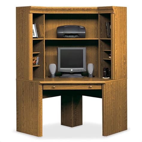 Small Hutch Desk Sauder Orchard Small Corner Wood Hutch Oak Computer Desk Ebay