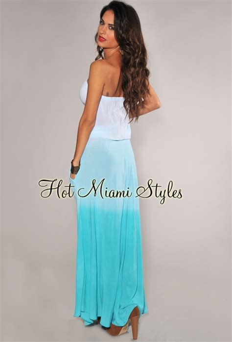 Dress Lace 0596 Turquoise Ombre Strapless Maxi Dress