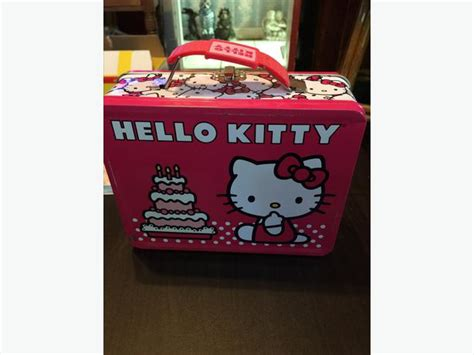 Hello Cake Pink Lunch Box hello lunch box metal tin city