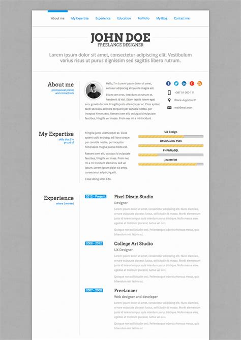 20 best wordpress resume themes for your personal website profile responsive portfolio resume one page theme
