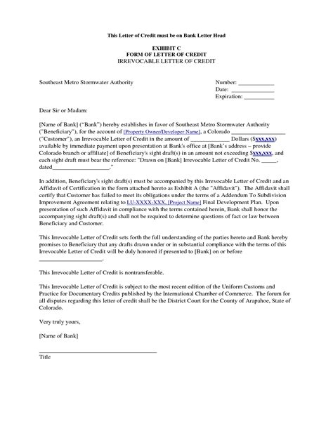 Letter Of Credit Draft Format Standard Letter Of Credit Format Best Template Collection