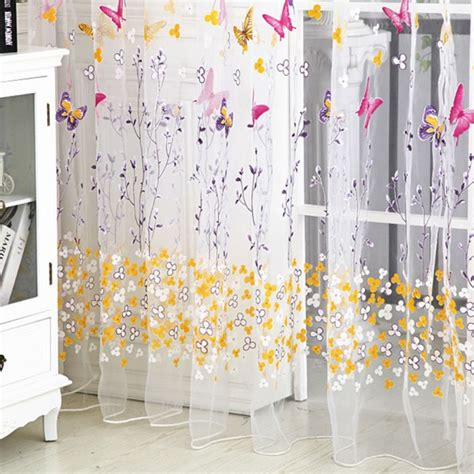butterfly sheer curtain panels butterfly floral tulle voile window curtain balcony sheer