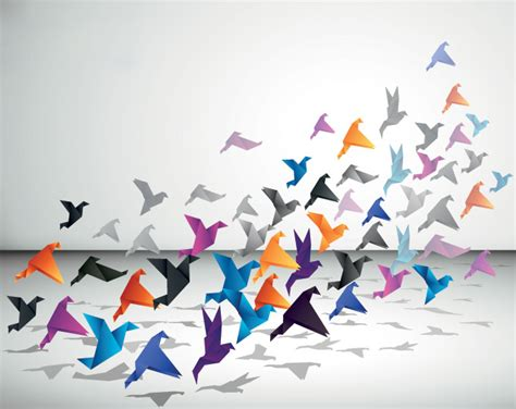 Origami Fly - origami flying birds free vectors ui