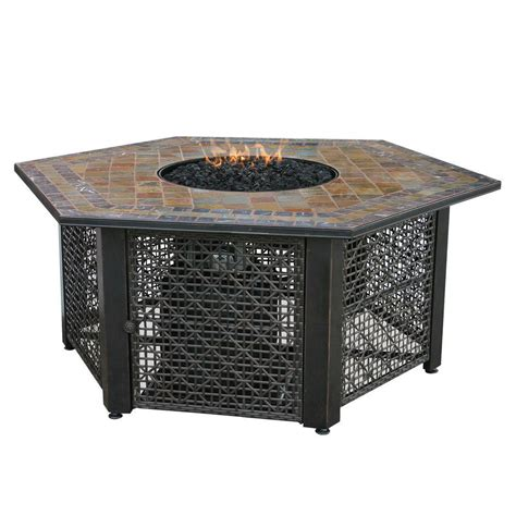 uniflame propane pit uniflame 21 in slate tile hexagon propane gas pit in