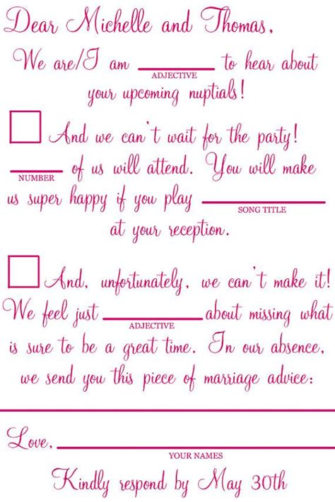 Mad Libs Rsvp Card Template by Rsvp Mad Libs Wedding