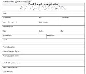 Apply For A Babysitting by Safety Youth Application And