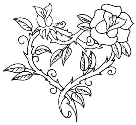 adult coloring page love tattoo heart and rose 3