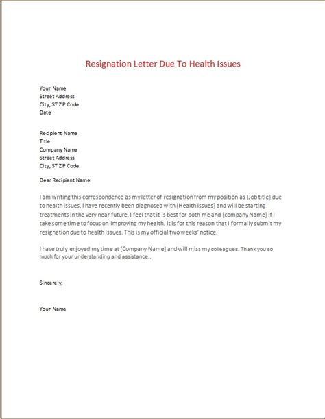 Resignation Letter Due To Poor Health resignation sle letters template word excel templates