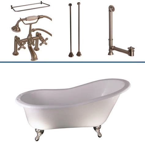 Cast Iron Bathtub Repair Kit by Barclay Tub Kit 60 Quot Cast Iron Slipper Tub With Filler Shower Rod Supplies Drain In Brushed