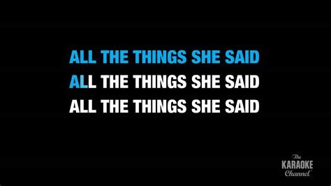 tattoo lyrics all the things she said all the things she said radio version in the style of quot t