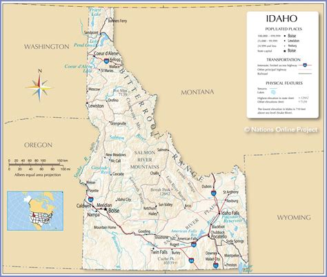 maps of idaho reference maps of idaho usa nations project