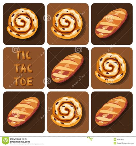Tic Tac Toe Of Bread And Cinnamon Roll Stock Vector   Image: 53563800